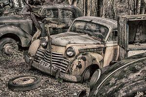 Oldtimers op een auto kerkhof
