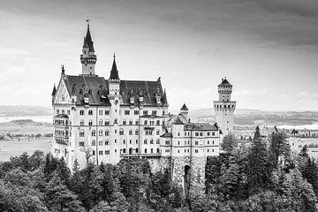 Kasteel Neuschwanstein in zwart-wit van Robert Styppa
