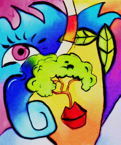Schilderij World of Thoughts - een abstract schilderij van