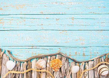Maritime Dekoration mit Muscheln, Seil und Treibholzbordüre von Alex Winter