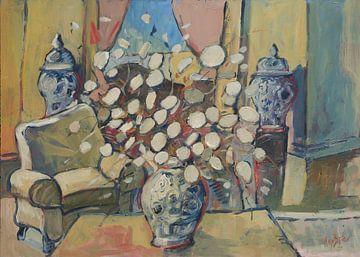 Vase bleu Delft avec jetons Judas sur