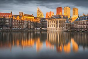 Zonsondergang aan de Haagse Hofvijver van