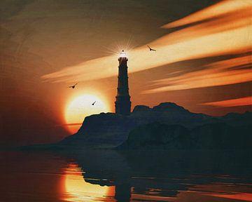 Vuurtoren met een zonsondergang en uitgerekte Stratus wolken