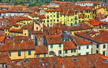 Italien - Toskana - Amphitheater von Lucca - Gemalte Zeichnung von Schildersatelier van der Ven