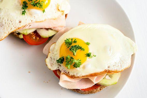 gebakken ei op volkorenbroodje met tomaat, komkommer en gekookte ham, gezond stevig ontbijt op een w