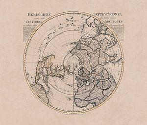 Historische kaart van het noordelijk halfrond en de noordpool van Andrea Haase