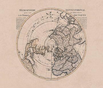 Historische Landkarte Der Nördlichen Hemisphäre Und Nordpol von Andrea Haase