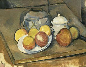Strohbesetzte Vase, Zuckerdose und Äpfel, Paul Cézanne