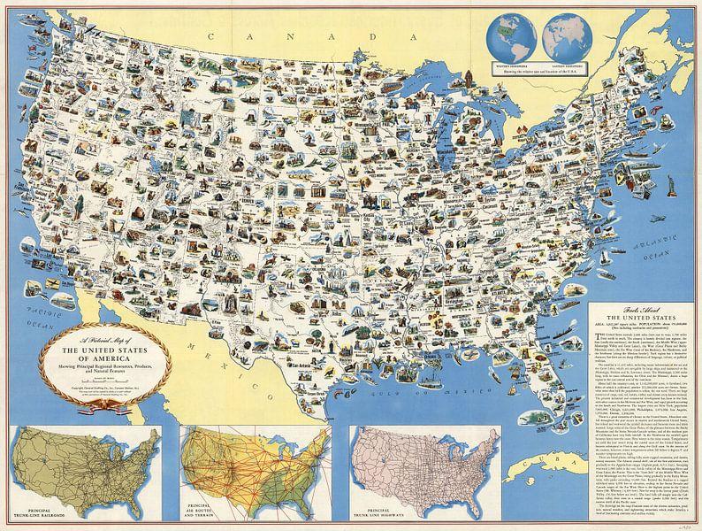 Kaart van de VS van World Maps