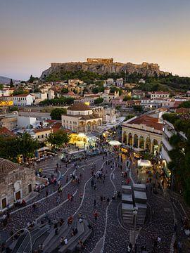 Iconisch uitzicht over Athene met de Akropolis op de achtergrond van Teun Janssen