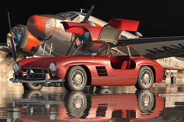 Mercedes 300SL Gullwings 1964 portes ouvertes Rouge
