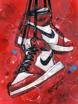 Nike Air Jordan 1 Retro Og Gs Chicago schilderij van Jos Hoppenbrouwers