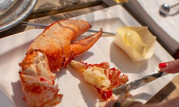 Heerlijk lekker kreeft eten in de mediterraanse zon van Dorus Marchal