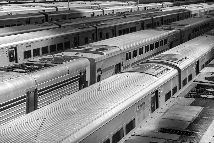 Treinstellen op Rangeerterrein midtown New York van Jan van Dasler