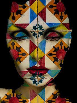 Verschillende ogen en rode lippen