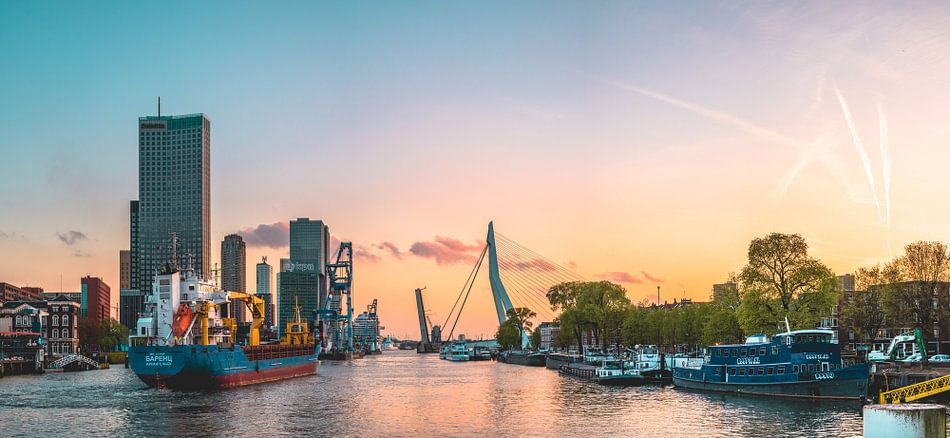 Zonsondergang in Rotterdam met schepen en Erasmusbrug van Wahid Fayumzadah