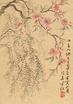 Hanko Okada.Pfirsichblüten und Weiden