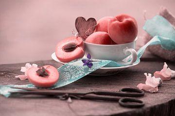 Fresh apricots arranged as an elegant still life van Tanja Riedel