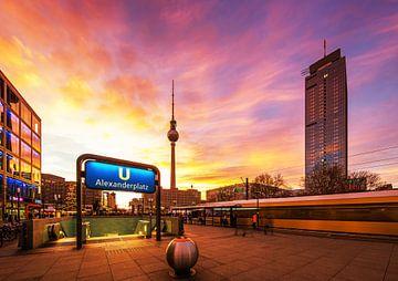 Berlijn Alexanderplatz Zonsondergang