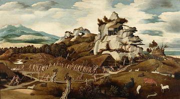 Landschap met een episode uit de verovering van Amerika, Jan Jansz Mostaert