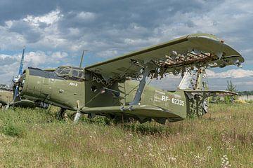 Een vervallen Russische Antonov 2, locatie Chernoye, bij Moskou, Rusland. van Jaap van den Berg