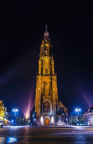 Nieuwe Kerk in Delft als avondfoto