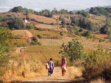 Te voet naar huis door de heuvels van Kalaw Myanmar van Rik Pijnenburg
