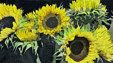 Festliche Sonnenblumen von Schildersatelier van der Ven