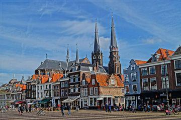Marktplatz Delft schwarz-weiss von Rico Heuvel