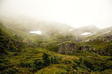 Berglandschaft an einem nebligen Tag von Karijn Seldam