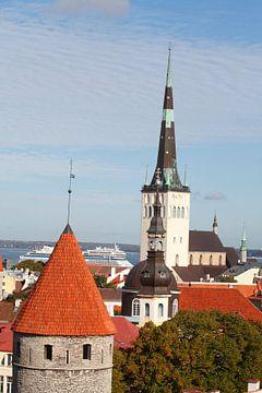 Ausblick vom Domberg auf die Unterstadt, Altstadt mit der Olaikirche oder Oleviste Kirik, und  einen von Torsten Krüger