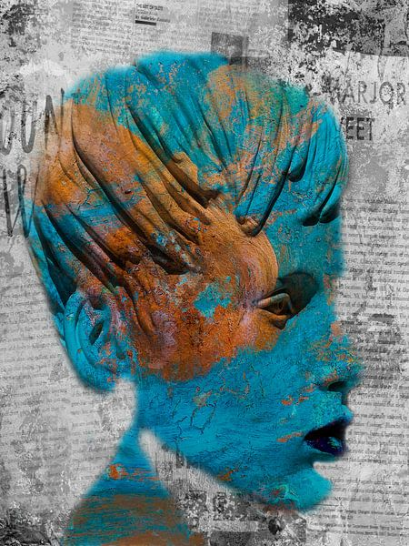 The turquoise face with some words von Gabi Hampe