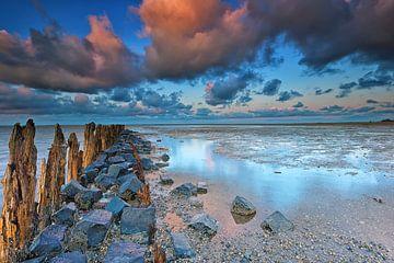 Zonsondergang bij Moddergat, Nederland van Richard van der Woude