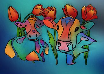 Koeien en Tulpen 2 von Yolanda Bruggeman