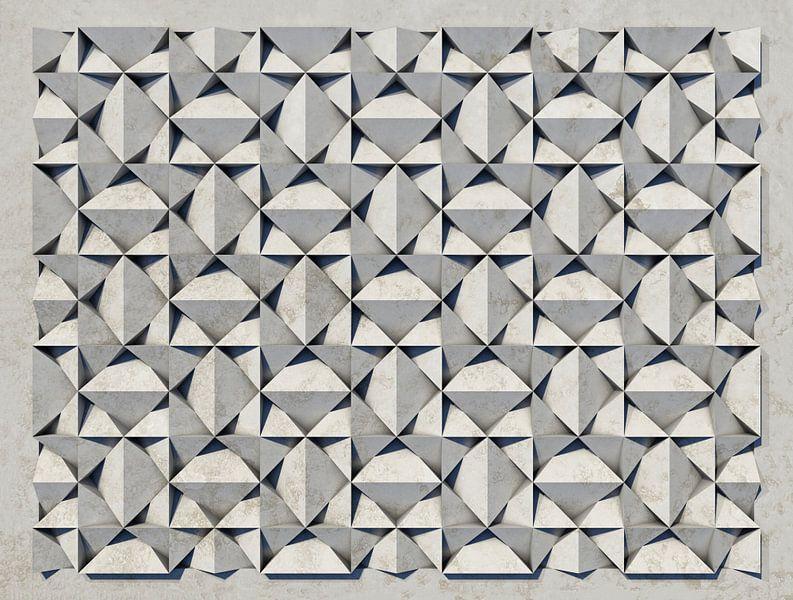 Reliëf B3 Witte kunststof van Frans Blok