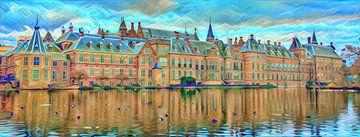 Modern Panorama Schilderij Buitenhof aan Hofvijver Den Haag van Slimme Kunst.nl