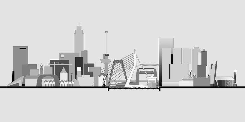 Rotterdamse skyline, grijstinten van Frans Blok