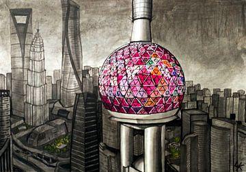 Zeichnung von Shanghai von Lonneke Kolkman