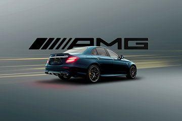 Mercedes E63.S AMG Bleu jaune sur Maikel van Willegen Photography