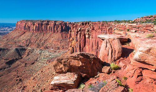 Aan de rand van de tafelberg in Canyonlands National Park van Rietje Bulthuis