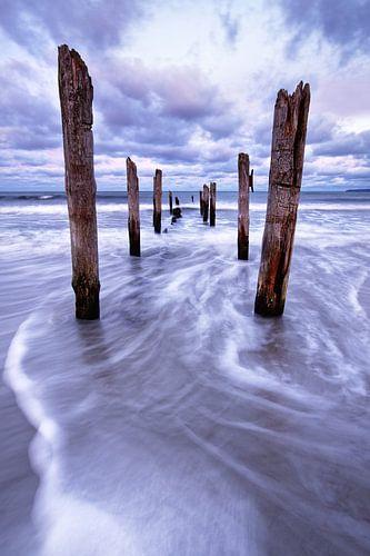Houten palen aan het strand van de Oostzee van Ralf Lehmann