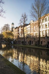 Oudegracht Utrecht met Jacobsbrug en Augustinuskerk