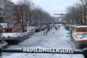 Winter Amsterdam Schaatsen Grachten von Thijs Nusmeijer