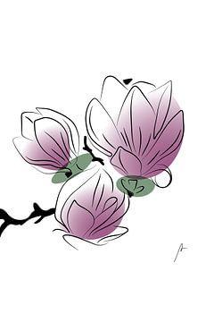 """Dessin au trait numérique """"Magnolia sur Ankie Kooi"""