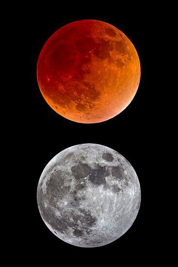 totale maansverduistering en volle maan
