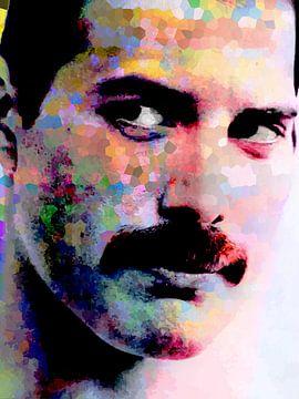 Freddie Mercury Abstract Portret in  Diverse Kleuren van Art By Dominic