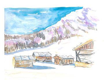 Rustikale Alpine Berghütten im Schnee von Markus Bleichner