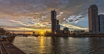 Kop van Zuid (Rotterdam) tijdens zonsondergang