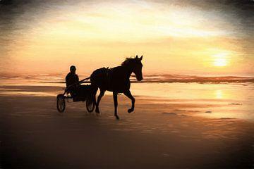 paard en sulky op het strand van eric van der eijk
