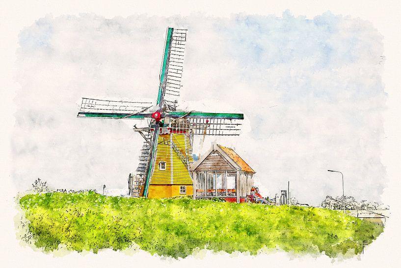 """Korenmolen """"De Hoop"""" in Sint Philipsland (Zeeland, Nederland) (aquarel) van Art by Jeronimo"""